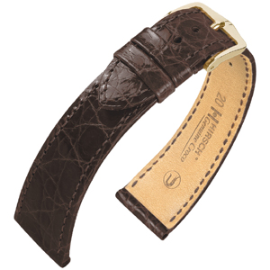 Hirsch Genuine Croco Watch Band Crocodile Skin Shiny Brown