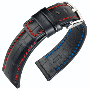 Hirsch Grand Duke Watch Band Alligatorgrain 100m WR Black/Red
