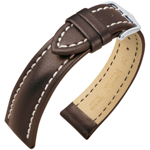 Hirsch Heavy Calf Water-Resistant Watch Band Dark Brown