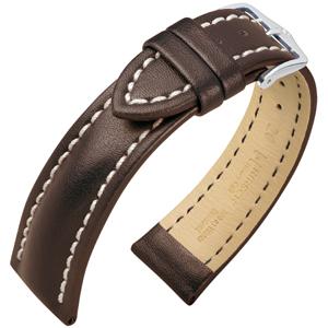 Hirsch Heavy Calf Water-Resistant Watch Band Dark Brown