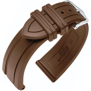Hirsch Hevea Watch Band Caoutchouc Brown