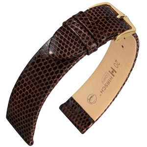 Hirsch Lizard Watch Band Premium Lizardskin Brown