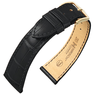 Hirsch London Watch Strap Alligator Skin Matte Black