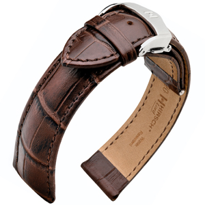 Hirsch Lord Watchband Alligator-Embossed Calf Skin Dark Brown