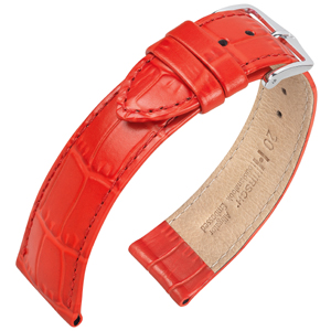 Hirsch Louisianalook Alligatorprint Watchband Red