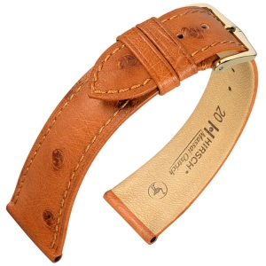 Hirsch Massai Watch Strap Ostrich Skin Golden Brown