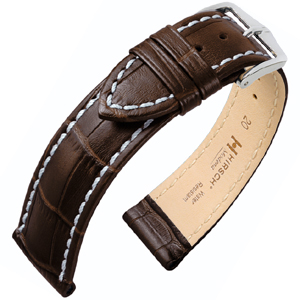 Hirsch Modena Calfskin Watchband Alligatorgrain Brown