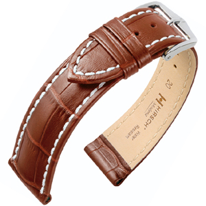 Hirsch Modena Calfskin Watchband Alligatorgrain Golden Brown