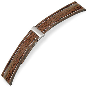 Hirsch Watch Strap for Breitling Folding Clasp Navigator Shark Skin Brown 20-18 / 22-18