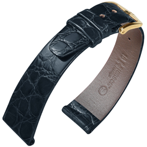 Hirsch Prestige Crocodile Skin Watch Band Black