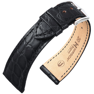 Hirsch Regent Watch Band Premium Alligator Flank Matte Black