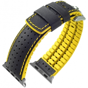 Apple Watch Strap Hirsch Robby Black Leather Yellow Rubber