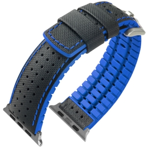 Apple Watch Strap Hirsch Robby Black Leather Blue Rubber