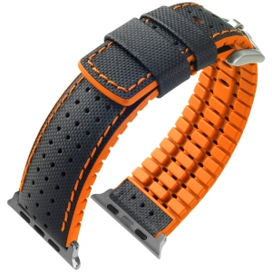 Apple Watch Strap Hirsch Robby Black Leather Orange Rubber