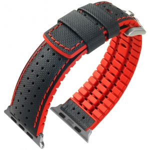 Apple Watch Strap Hirsch Robby Black Leather Red Rubber