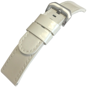 Patent Leather Watch Strap Lenzers White 22mm