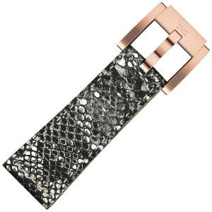 Marc Coblen / TW Steel Watch Strap Silver Glamour Leather Snake 22mm