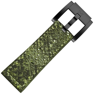 Leather Marc Coblen Watch Strap Glamour Green Snake 22mm