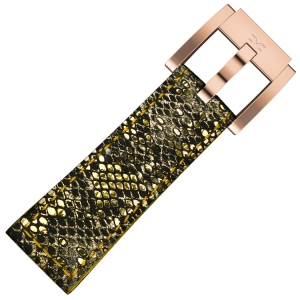 Leather Marc Coblen Watch Strap Glamour Gold Snake 22mm