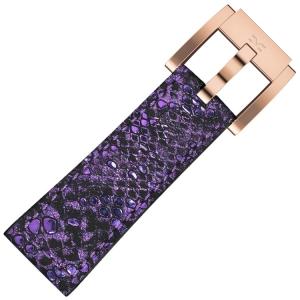 Leather Marc Coblen Watch Strap Glamour Purple Snake 22mm