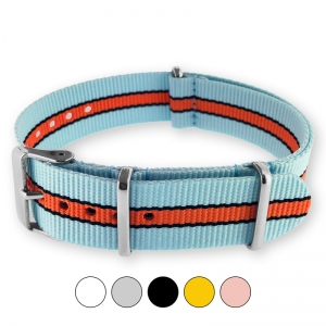 Gulf Le Mans Sky Blue Orange NATO G10 Military Nylon Strap