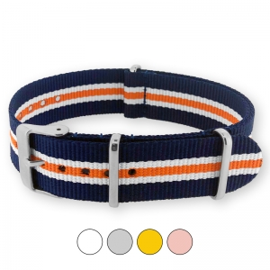 Heritage Blue White Orange NATO G10 Military Nylon Strap - SS/MATTE