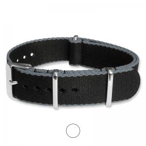 Black Gray Seatbelt NATO Deluxe Nylon Strap