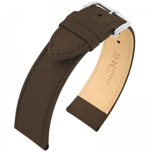 Hirsch Osiris Watch Strap Nubuck Leather Brown