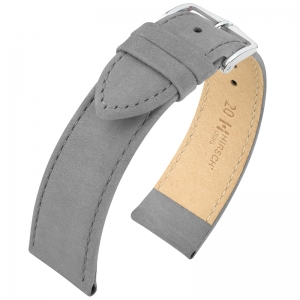 Hirsch Osiris Watch Strap Nubuck Leather Gray