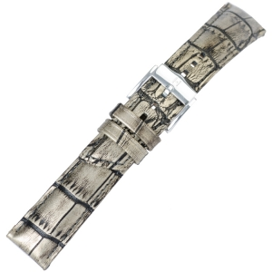 Hirsch Princess Pretiosa Watchband Alligatorgrain Silver