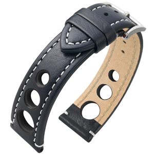 Hirsch Rally Artisan Perforated Watch Band Black White Stitching