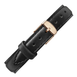 Daniel Wellington 12mm Petite Sheffield Black Leather Watch Strap Rosegold Buckle