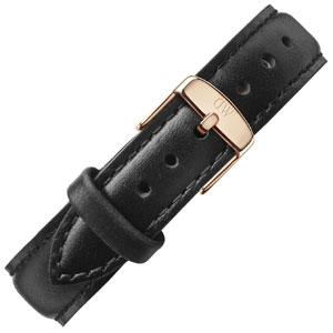 Daniel Wellington 17mm Classy Sheffield Black Leather Watch Strap Rosegold Buckle