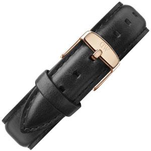Daniel Wellington 19mm Dapper Sheffield Black Leather Watch Strap Rosegold Buckle