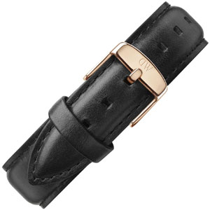 Daniel Wellington 20mm Classic Sheffield Black Leather Watch Strap Rosegold Buckle