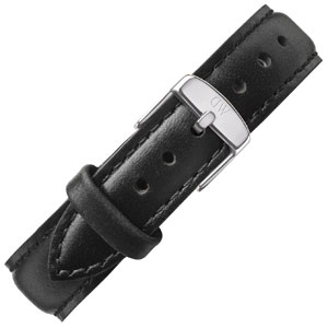 Daniel Wellington 17mm Classy Sheffield Black Leather Watch Strap Stainless Steel Buckle