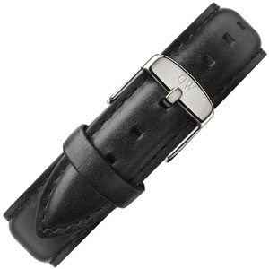 Daniel Wellington 18mm Classic Sheffield Black Leather Watch Strap Stainless Steel Buckle