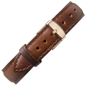 Daniel Wellington 17mm Classy St Mawes Brown Leather Watch Strap Rosegold Buckle