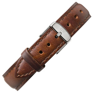 Daniel Wellington 17mm Classy St Mawes Brown Leather Watch Strap Stainless Steel Buckle