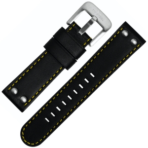TW Steel Watch Band TW671, TW673 - Black, Yellow Stitching 24mm