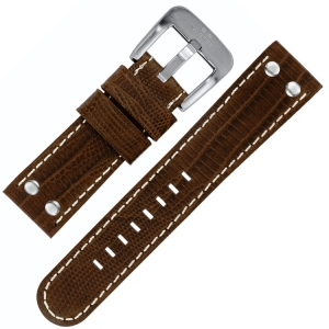 TW Steel Watch Band Brown Croco Calfskin 22mm