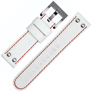 TW Steel Watch Band CE1013, CE1014 - White, Red Stitching 22mm
