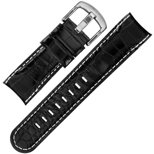 TW Steel Grandeur Watch Band TW51 - Black Croco Calfskin 24mm