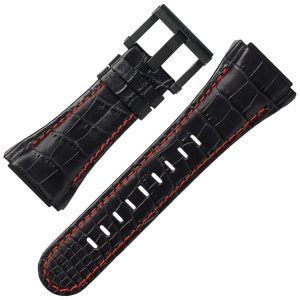 TW Steel Watch Strap CE4008 CEO Tech 44mm - Black Leather, Red Stitching