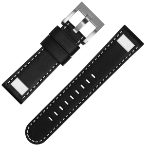 TW Steel Universal Watch Strap Black Leather Square Stud - 22mm