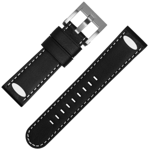 TW Steel Universal Watch Strap Black Leather Oval Stud - 22mm