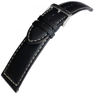 Vintage Calf Skin Watch Strap Lenzers Black 24mm