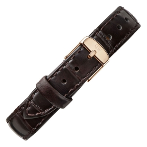 Daniel Wellington 14mm Petite York Dark Brown Leather Watch Strap Rosegold Buckle