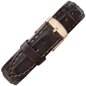 Daniel Wellington 18mm Classic York Dark Brown Crocograin Leather Watch Strap Rosegold Buckle