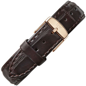 Daniel Wellington 20mm Classic York Watch Strap Crocograin Leather Dark Brown Rosegold Buckle